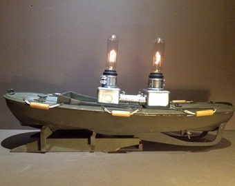 Industrial Table Boat Lamp - Steel Pipes ,Vintage Boat,Double Lights Sale
