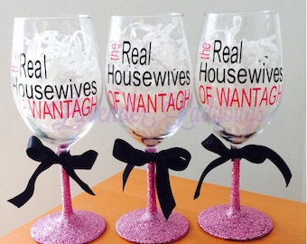 Real Housewives wine glasses - Real Housewives glasses - pick your city/town - personalized wine glass - gift for her - wine glass