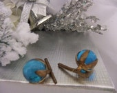 SALE  Stunning vintage Victorian Edwardian cobalt blue orbs of light collar studs cuff links 1800s