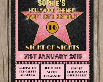 Personalised Hollywood Themed Birthday Invitations - You Print