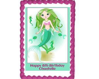 Mermaid Personalised A4 Edible Icing Topper