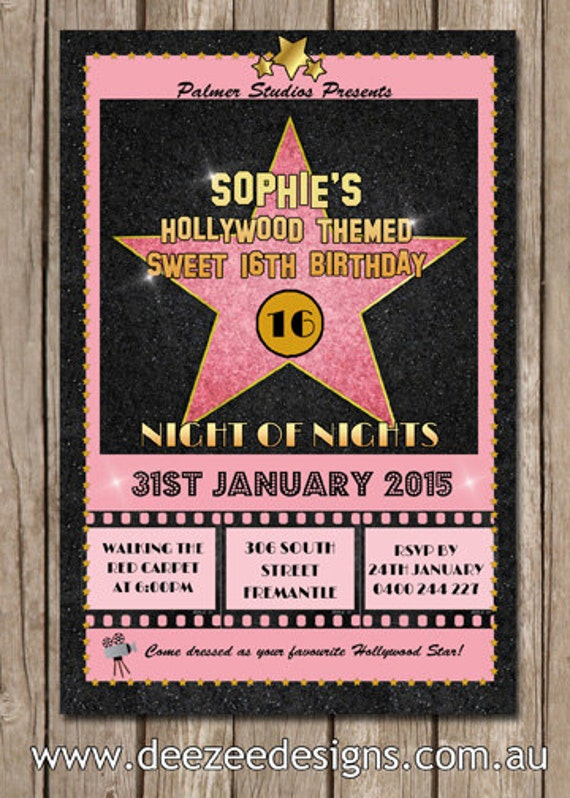 Personalised Hollywood Themed Birthday Invitations You Print by