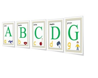 FRENCH ALPHABET Printable CARDS/Alphabet Posters/Alphabet Letters/Alphabet Words/Alphabet Activities/Alphabet Game/Learn the Alphabet