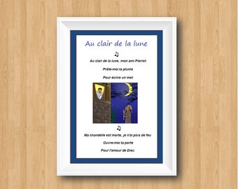 Au Clair de la Lune,French Song Lyrics Art,Kids Room Decor,Classroom Decor,Nursery Melody,Nursery Rhyme,Nursery Wall Decor,Language Art