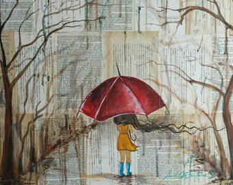 Red Umbrella Rainy Day Acrylic on Book Paper Print 8x10