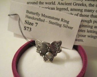 Butterfly Ring & Moonstone Sterling Silver Handcrafted Size 7