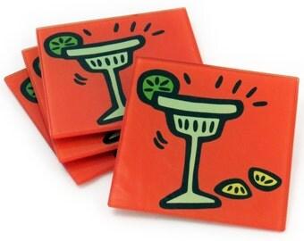 Margarita Tempered Glass Coasters