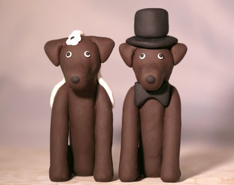 Chocolate Lab Labrador Retriever Dog Wedding Cake Topper