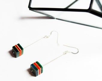 Thrashion Recycled Skateboard 'Rhombus' Cube Earrings made from a broken wood deck