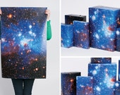 Large Galaxy Print Gift Wrap / 3 Sheets / Deep Blue