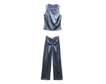 90s Y2K TWO Piece 2 Pc Leather Look Pvc Top & Pants Matching Set