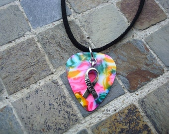 Hope Ribbon Guitar Pick Necklace, Multicolored with Hope Ribbon Charm for Autism