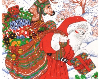 Vintage Father Christmas & Reindeer Festive Kitsch Tea Towel