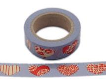 "W8333 11Yards Fuchsia Heart Sky Blue 5/8"" (15mm) Washi Tape Paper Masking Tape W8333"