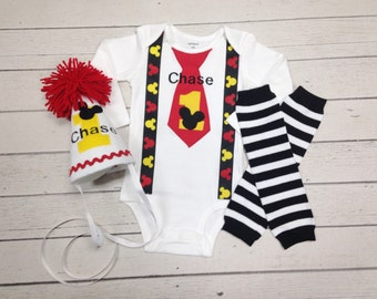 Mickey Mouse Birthday Tie and Suspender Set-Baby Boy Clothes-Cake Smash Outfit-Mickey Birthday Hat-Disney Birthday Set-Boy Leg Warmers