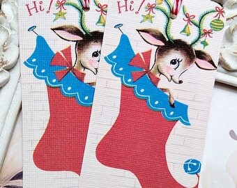 Retro Reindeer in Stocking Christmas Tags - Set of 6