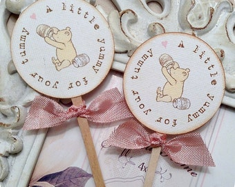 Classic Winnie the Pooh A Little Yummy for Your Tummy Cupcake Topper (10) Pooh Topper-Pooh Birthday Party-Pooh Baby Shower-Vintage Pooh