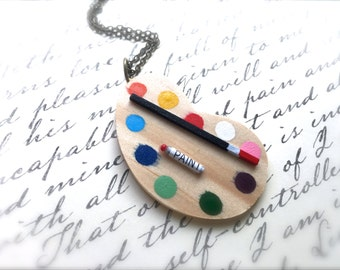 Artist's Delight Necklace. Miniature Wood Paint Palette. Colorful. Kitsch. Painter. Creative. Crafty. Vintage Style Brass. Fun. Under 30.