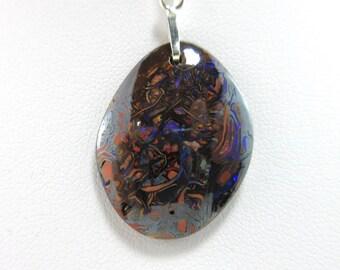 Sterling Silver Koroit Opal Pendant Necklace - SS c5024NP