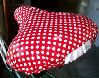 Bicycle Seat Cover Red Polka Dots - Weatherproof