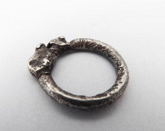 silver ring/ fused silver ring/ oxidised silver ring