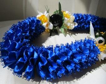 Hawaiian Ribbon Lei Royal Blue Kukui Nut Carnation Lei