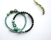 Turquoise Stone Nugget Bracelet One Size Fits All Memory Wire Wrap Bracelets Stackable