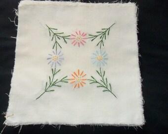 "12"" Quilt blocks, 21 vintage hand embroidered quilt squares"