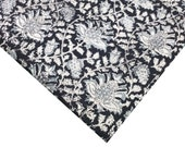 Handprinted Organic Dyed Kalamkari Cotton Fabric - Floral Print Soft Cotton Fabric in Black, Beige, Blue
