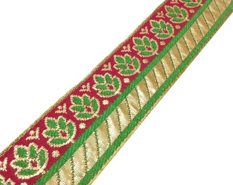 Jaqcuard Lace in Floral Pattern - Pink - Green - Gold Sari Ribbon / Trim / Lace  for Dresses, Sari  and more