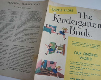 Vintage 1940s Childrens Music Book The Kindergarten Book Our Singing World