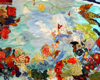 Undersea Life, Fiber Art, Ocean Art, Fabric Collage, Watercolor Fabric Collage, Kathleen Leasure, FromGlenToGlen, 17,21 OOAK