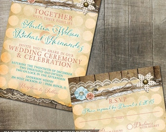 Rustic Lace Polka Dot Invitation Rustic Wedding Invitation Digital Printable DIY Rustic Wedding Invitation Floral and Pattern
