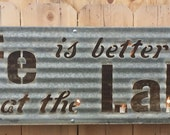 FREE SHIPPING Industrial Vintage Style Life is Better at the Lake Marquee Light Sign