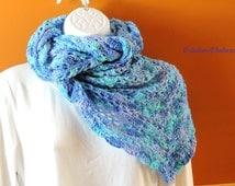 Ocean hook shawl  bleu and aqua - long scarf