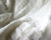 White Hand Knitted Baby Blanket- Boy or Girl- Made To Order- Knitted Afghan- Baptism|Christening-