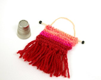 Miniature Wall Hanging- Red ,Pink- Fringed, Hand Knitted- Ombre- Boho- Tiny Knits