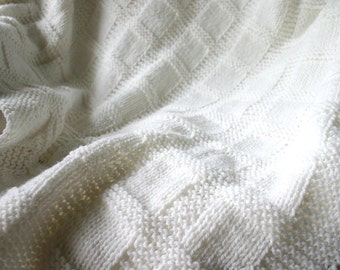 White Knitted Baby Blanket- Boy or Girl- Made To Order- Baptism|Christening