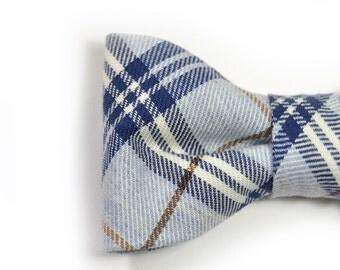 Men College blue brown cotton plaid bowtie - Baby, toddler boys tie  Kids Clip-On Bow Tie