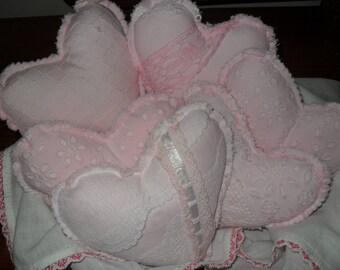 Heart Pillows, Pink Heart Pillows, Valentine Pillows, Shabby Heart Pillows, Ready to Ship!!