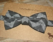 Dark Grey Chevron Bow Tie - Adjustable Closure - Little Man Ties - Boys Bowtie - Toddler Bow tie