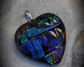 Textured Heart Silver Plated Dichroic Fused Glass Pendant 6026