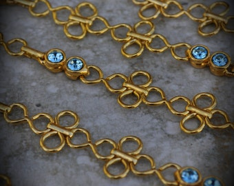 Gold Plated Swarovski Crystal Linked Chain Aquamarine