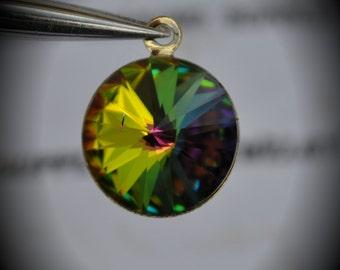 Gold Plated Genuine Swarovski Crystal 14mm Rivoli Charm- Vitrail Medium