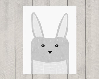Bunny Rabbit Nursery Art Print - Woodland Animal Art