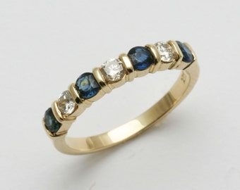 Vintage 14k yellow gold blue sapphire diamond channel set band ring Handmade .70 carat