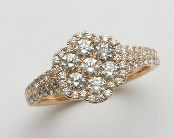 PREOWNED 18k rose pink gold Diamond Flower Cluster Ring 2 carat Pave Engagement Ring Right Hand