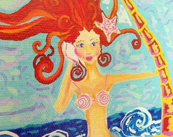 "Mermaid and Palm Tree Painting- 18"" x 24"" Giclee on canvas print by Kim McCoy,mermaid wall decor,coastal living"