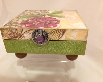 Green and Plum Floral Decorative Box