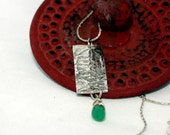 Fine Silver Pendant, Distressed Silver Fossil Effect, tear drop shaped faceted green chalcedony on 925 Silver Box Chain